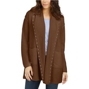 Style & Co Studded Pocket Cardigan Sweater Brown